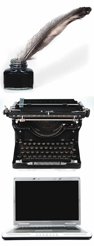 Quill, Typewriter, Laptop