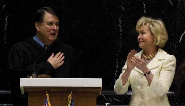 Photo of Chief Justice Shepard and Lt. Gov. Becky Skillman