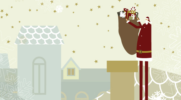 Illustration of Santa Claus on rooftop with bag of gifts