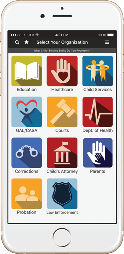 A mockup of the information sharing guide mobile app on the iPhone