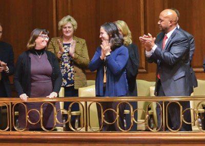 Jane Seigel is applauded by the state leaders during the State of the Judiciary.