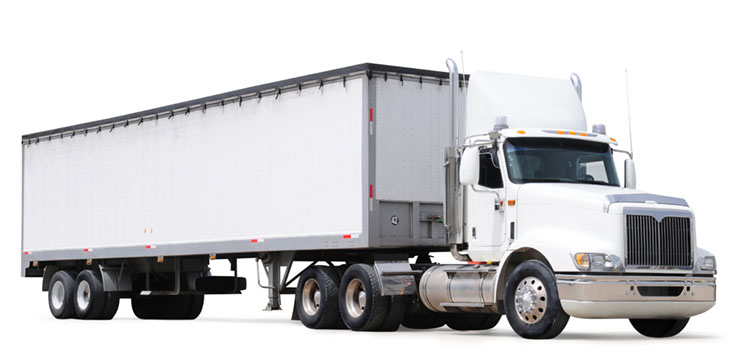 Commercial semi truck against white background