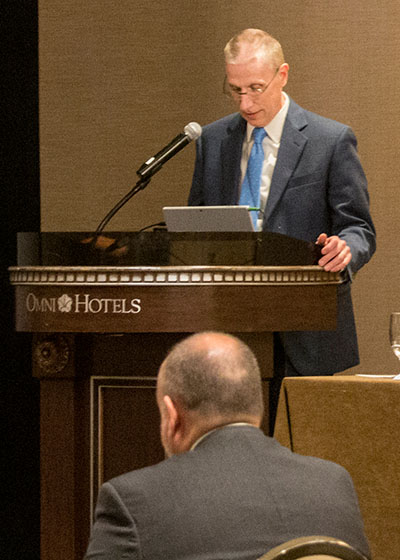 Indiana Supreme Court Justice Geoffrey Slaughter speaks during the National Center for State Courts' Pretrial Justice Reform Summit in May 2018