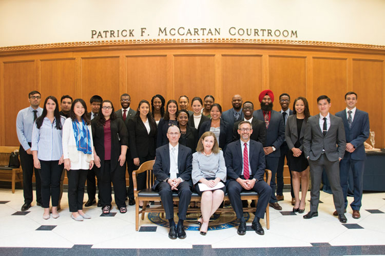 The 2018 ICLEO class with Justice Geoffrey Slaughter, Notre Dame Professor Christine Venter, and Justice Christopher Goff.