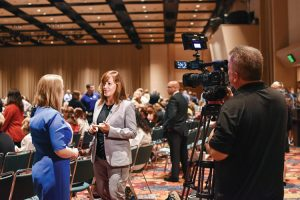 Dr. Jennifer Walthall is interviewed prior to the start of the Statewide Opioid Summit.