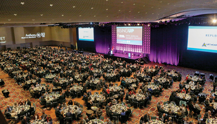 Tables fill the ballroom as part of the Indiana Chamber's 29th Annual Awards Dinner at the Indiana Convention Center.