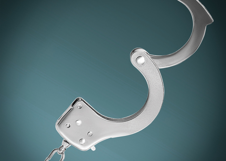Open handcuff against blue gradient background