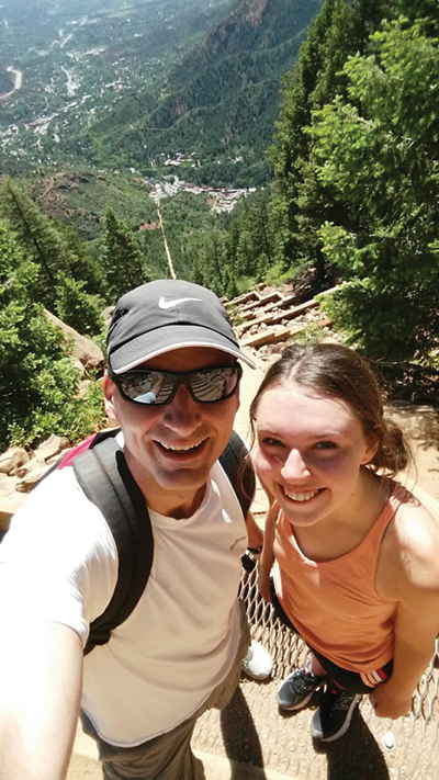 Judge Foley and his daughter, Maggie, take a selfie while hiking.