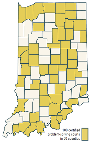 Map showing 50 of 92 counties have a problem-solving court