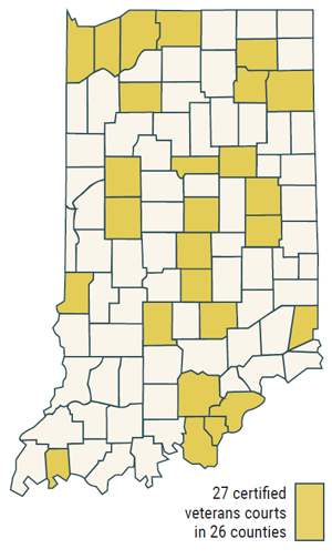 Map showing 26 of 92 counties have a veterans' court
