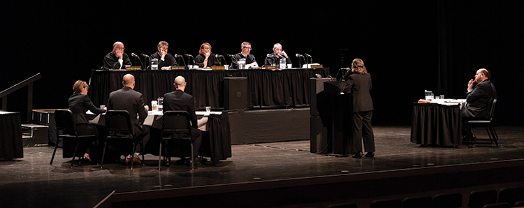Members of the Supreme Court hear arguments in Wabash County