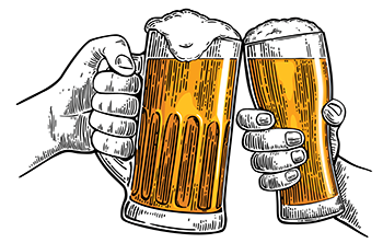Two hands, each holding a beer. Illustration.