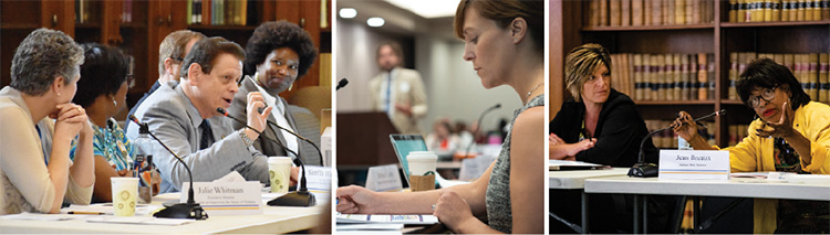 A three photo collage of Children's Commission members.