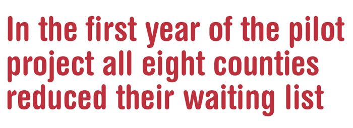 Pull quote: In the first year of the pilot project all eight counties reduced their waiting list
