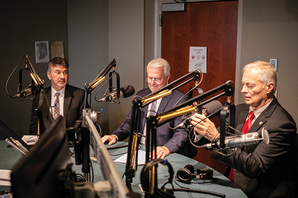 """Justice David, Representative Greg Steuerwald, and Representative Randy Frye sit down for an interview on jail overcrowding at the WFYI studio for the program """"All IN"""" on January 9, 2020."""