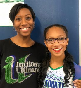Magistrate Brisco and her daughter Brianna wear Indiana Ultimate cheerleading attire.
