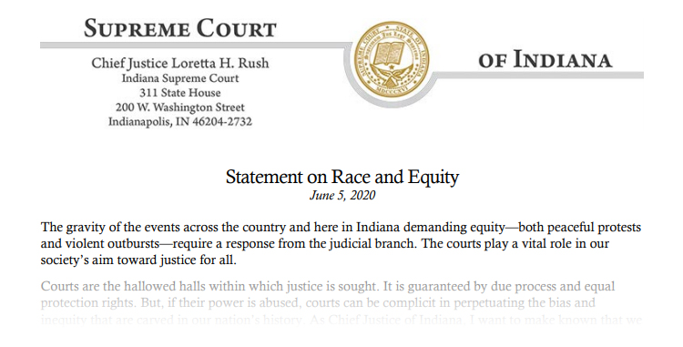 A screenshot of Chief Justice Loretta Rush's Statement on Race and Equity dated June 5, 2020 fading to white. Follow the linked image or link in the article to read the full statement.